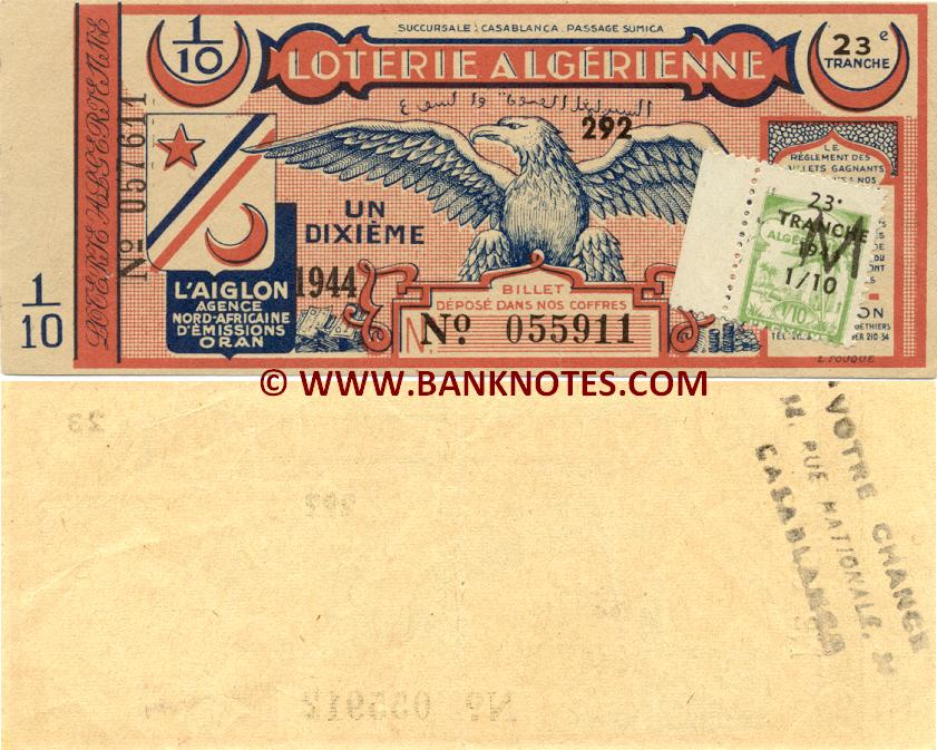 Algeria Lottery ticket 1944. Serial # 057611/055911. VF+ (used)