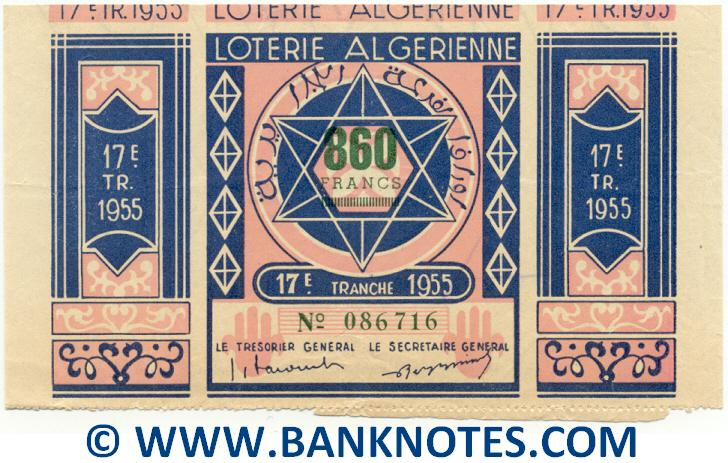 Algeria Lottery ticket 860 Francs 1955. Serial # 086716 (used) VF+