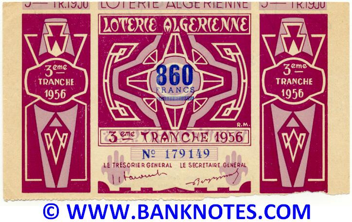 Algeria Lottery ticket 860 Francs 1956. Serial # 179149 (nice) XF