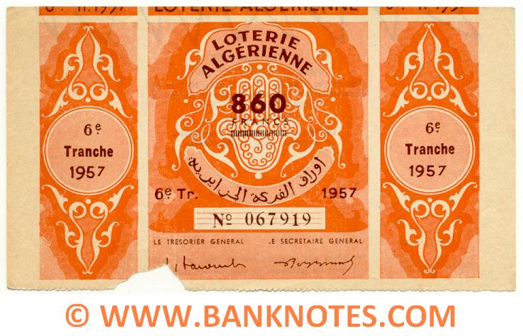 Algeria Lottery ticket 860 Francs 1957. Serial # 067919 (used) XF