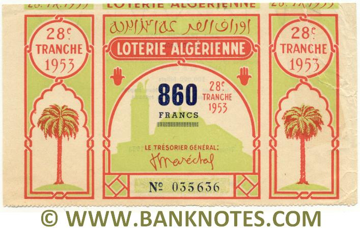 Algeria Lottery ticket 860 Francs 1953. Serial # 035636 (used) XF