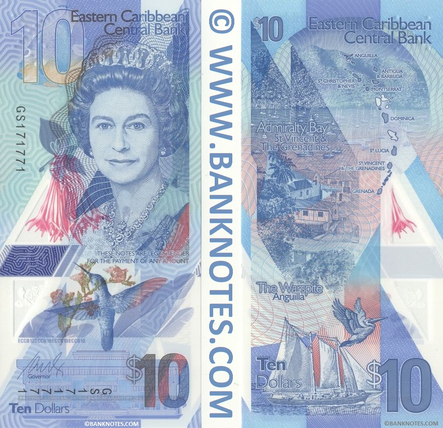 East Caribbean States 10 Dollars (2019) (GS1717xx) polymer UNC
