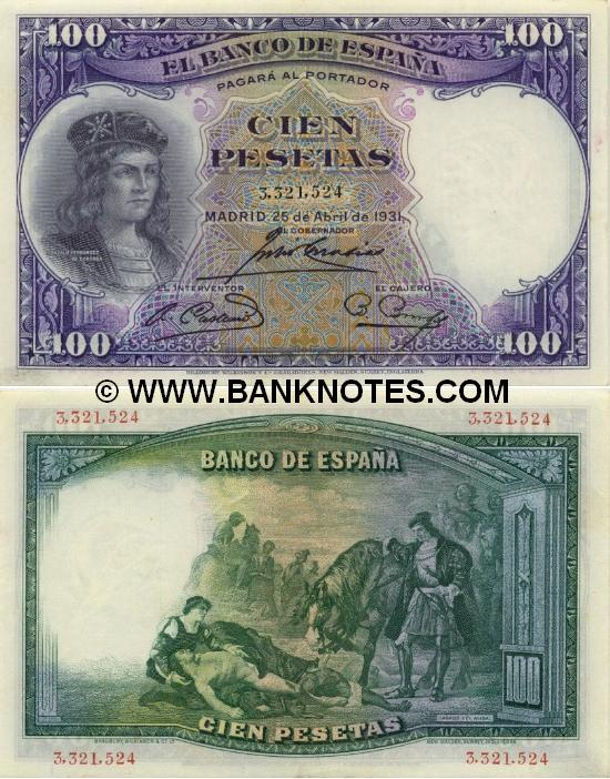 Spain 100 Pesetas 1931 (1,252,949) (circulated) VF-XF
