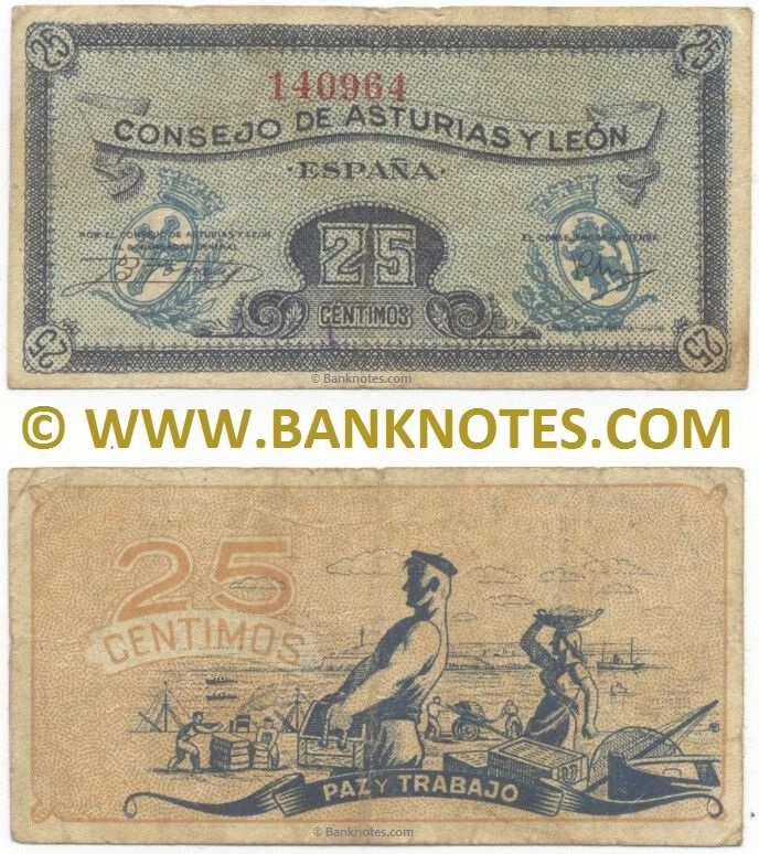 Spain 25 Centimos (1936) (Consejo de Asturias y León) (#142262) (circulated) F-VF