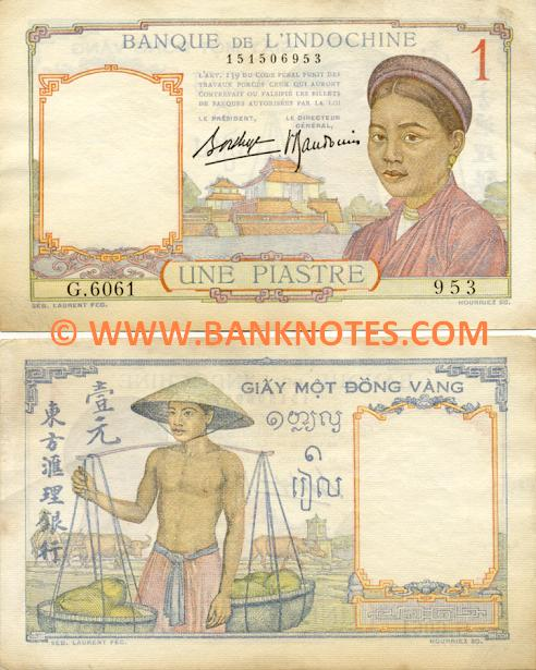French Indo-China 1 Piastre (1936) (B.4952/123776274) (circulated) VF