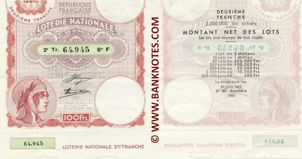 France 100 Francs 1933 National Lottery Ticket (F 64,945) AU