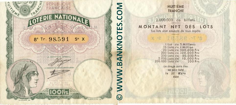 France 100 Francs 1934 National Lottery Ticket (X 98,591) XF+