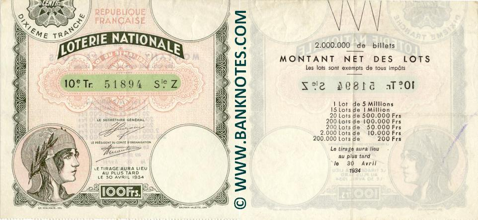 France 100 Francs 1934 National Lottery Ticket (Z 51894) VF-XF
