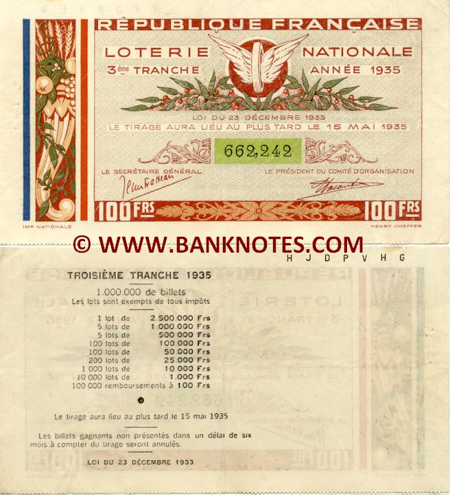 France 100 Francs 1935 National Lottery Ticket (662,242) XF