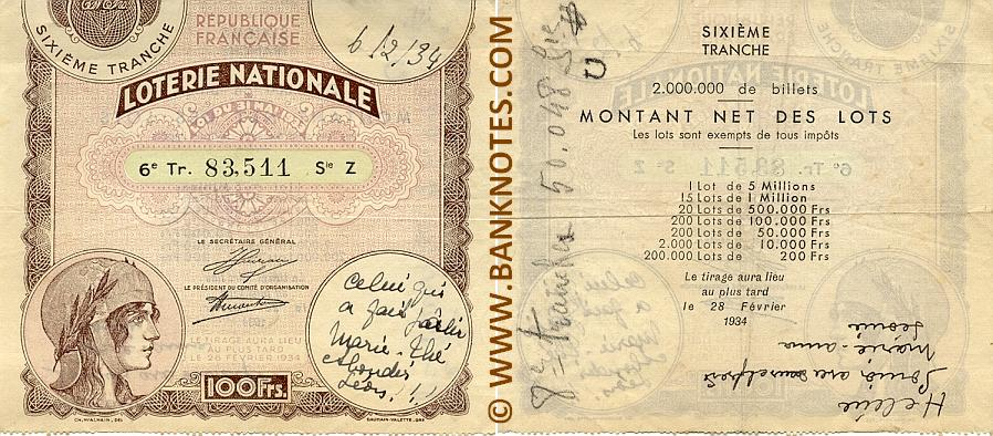 France 100 Francs 28.2.1934 National Lottery Ticket (Z 83,511) VF