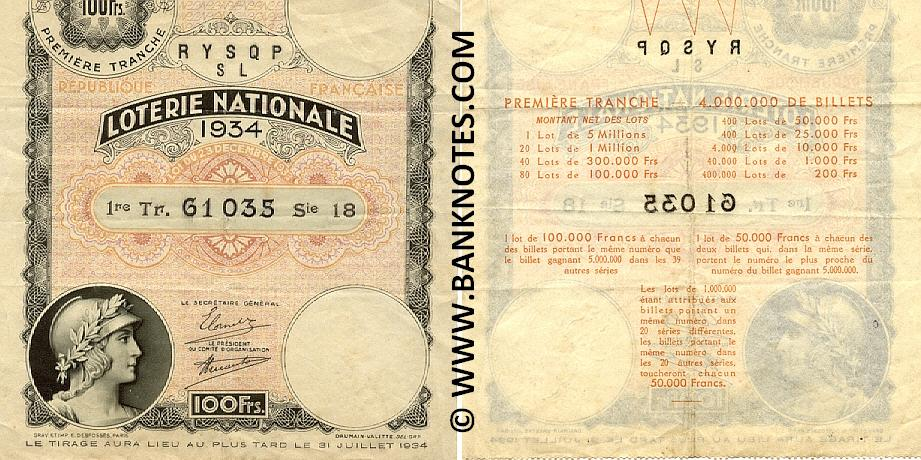 France 100 Francs 31.7.1934 National Lottery Ticket (18 61035) VF