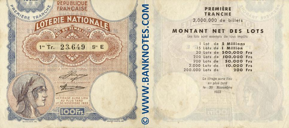 France 100 Francs 1933 National Lottery Ticket (E 23649) XF+