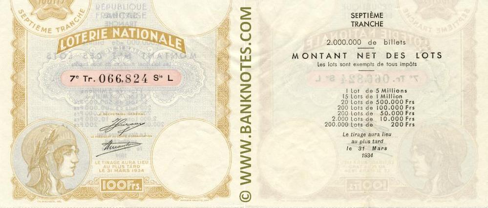 France 100 Francs 1934 National Lottery Ticket (L 066,824) XF+