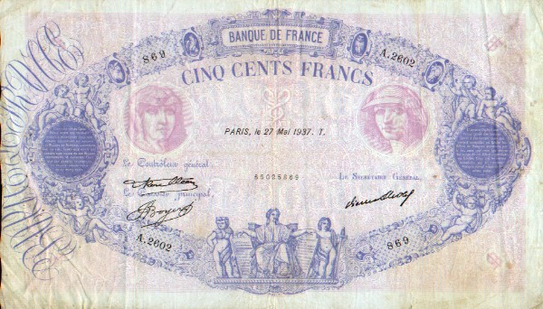 France 500 Francs 1937 (A.2602/65025869) (circulated) F-VF