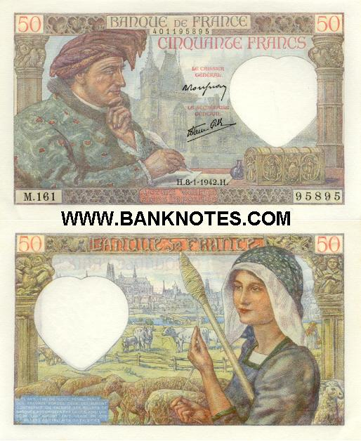 France 50 Francs 8.1.1942 (R.164/409144729) (circulated) VF