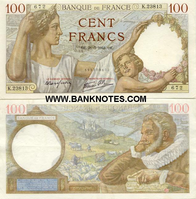 France 100 Francs 23.5.1940 (Y.11265/281622611) (circulated) VF