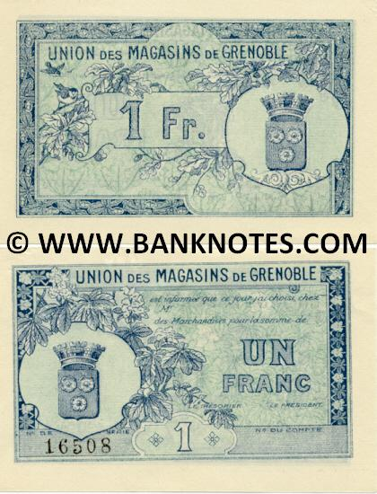 "France 1 Franc of ""Union des Magasins de Grenoble"" (16977) AU"