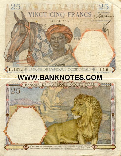 French West Africa 25 Francs 1939 (L.1872/46785116) (circulated) F-VF