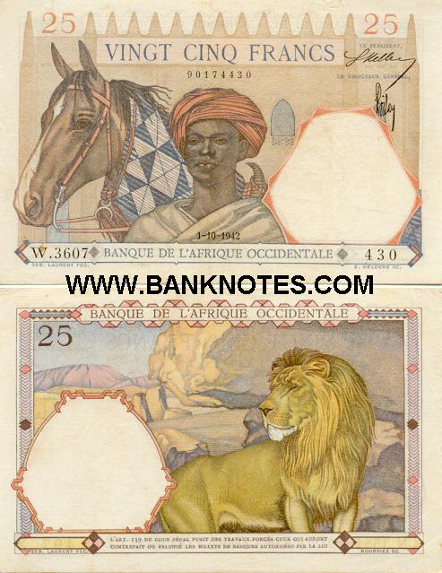 French West Africa 25 Francs 1942 (W.3607/90174430) (lt. circulated) XF