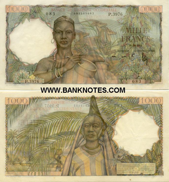 French West Africa 1000 Francs 28.10.1954 (R.3957/098916153) (lt. circulated) VF-XF