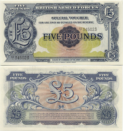 Great Britain 5 Pounds (1948) Special voucher of the British Armed Forces (EE/1 3041xx) UNC