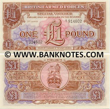 Great Britain 1 Pound (1956) Special voucher of the British Armed Forces (E/1 9809xx) UNC