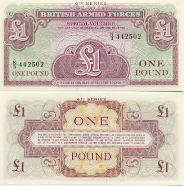 Great Britain 1 Pound (1962) Special voucher of the British Armed Forces (K/3 7371xx) UNC