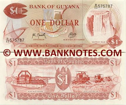 Guyana 1 Dollar (1989) (B/8 7388xx) (light stains) UNC