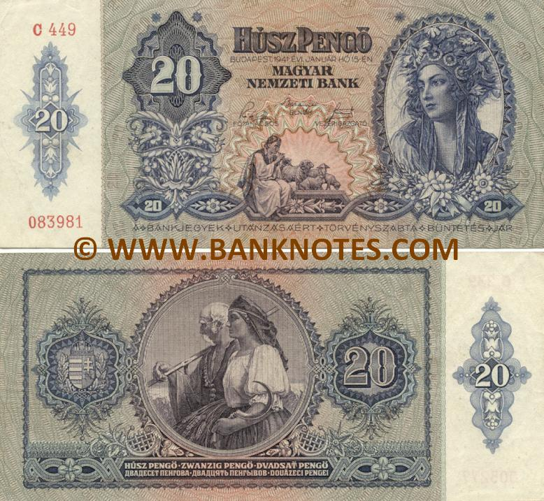 Hungary 20 Pengö 1941 (C Series) (circulated) VF