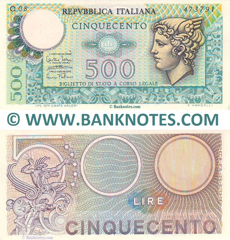 Italy 500 Lire 14.2.1974 (Q08/473791) (lt. circulated) XF-AU