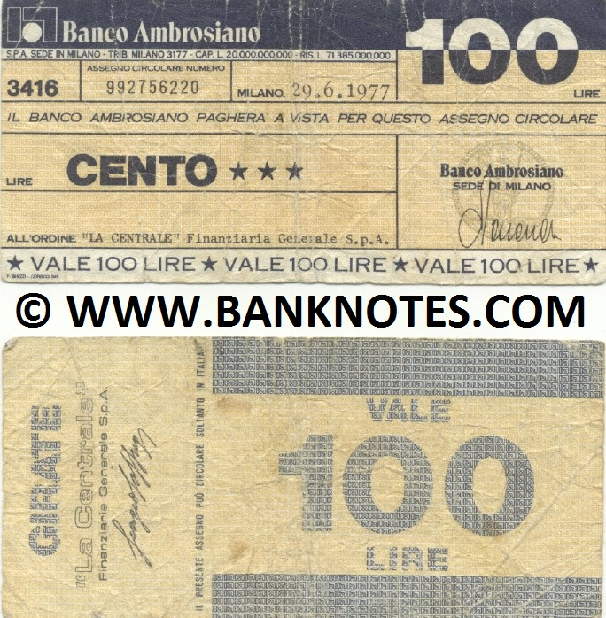 Italy Mini-Cheque 100 Lire 29.6.1977 (Il Banco Ambrosiano, Milano) (992756220) (circulated) F