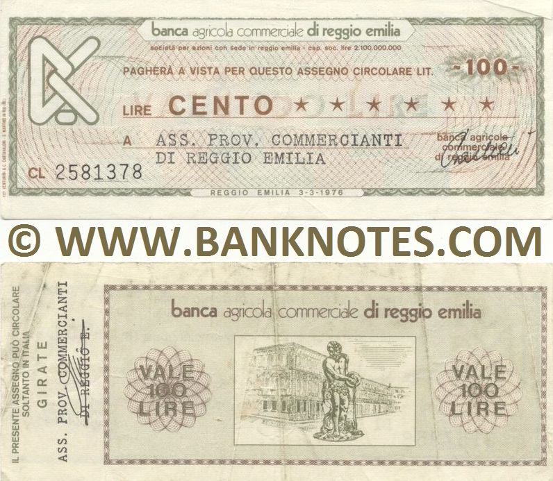 Italy Mini-Cheque 100 Lire 3.10.1977 (Banca Agr. C. di Reggio Emilia) (CL 7324436) (circulated) VF