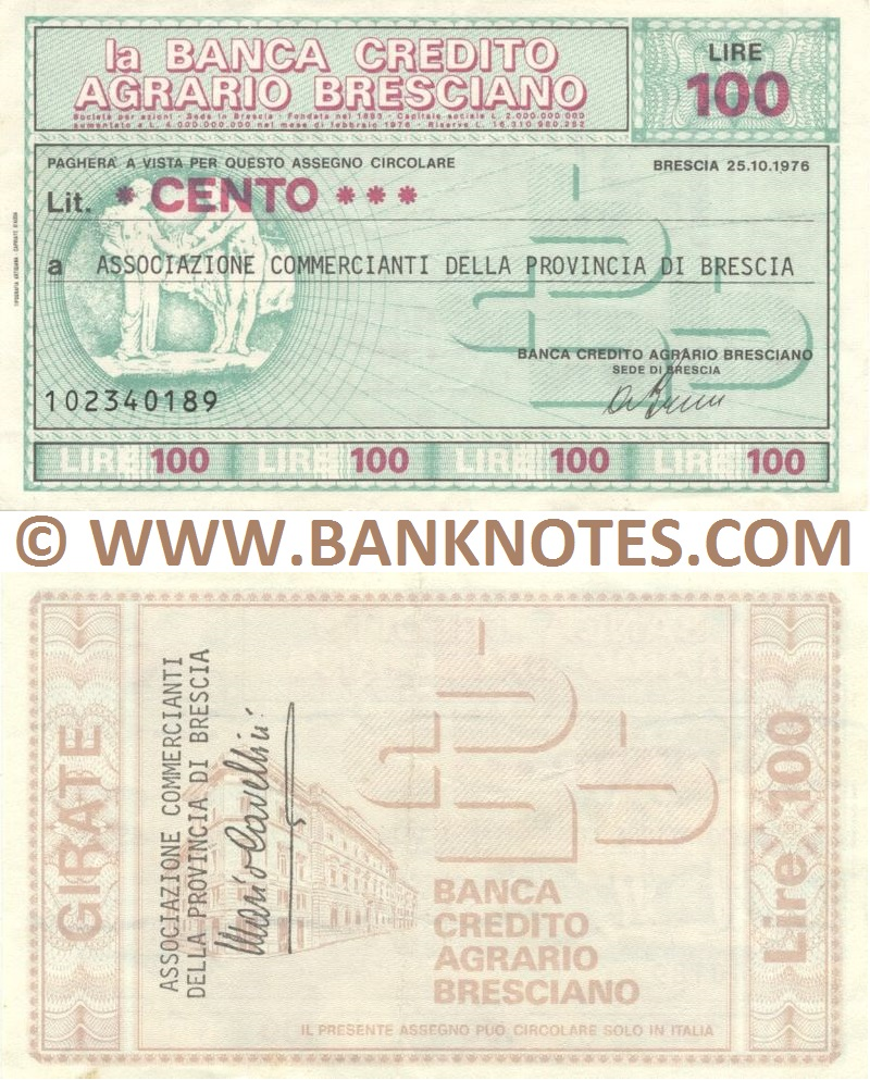 Italy Mini-Cheque 100 Lire 13.2.1978 (La Banca Credito Agrario Bresciano) (107557963) (circulated) F-VF