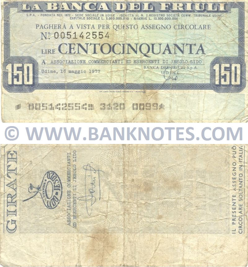 Italy Mini-Cheque 150 Lire 16.5.1977 (La Banca del Friuli, Udine) (Nº005142554) (circulated) VG-F