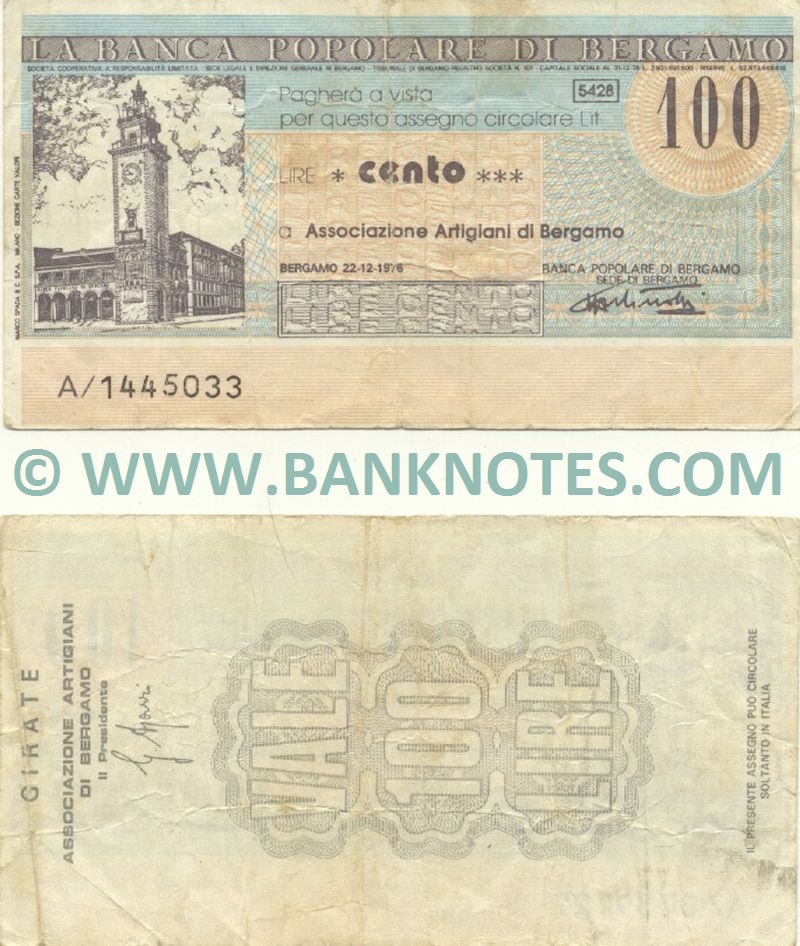 Italy Mini-Cheque 100 Lire 22.12.1976 (Banca Popolare di Bergamo) (A/1445033) (circulated) F-VF
