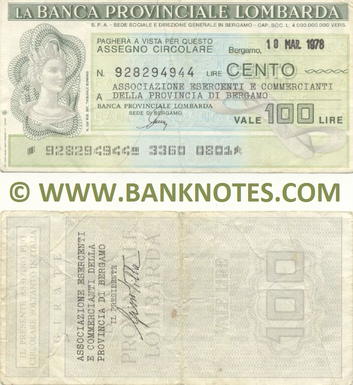 Italy Mini-Cheque 100 Lire 10.3.1978 (La Banca Provinciale Lombarda) (928294944) (circulated) VF
