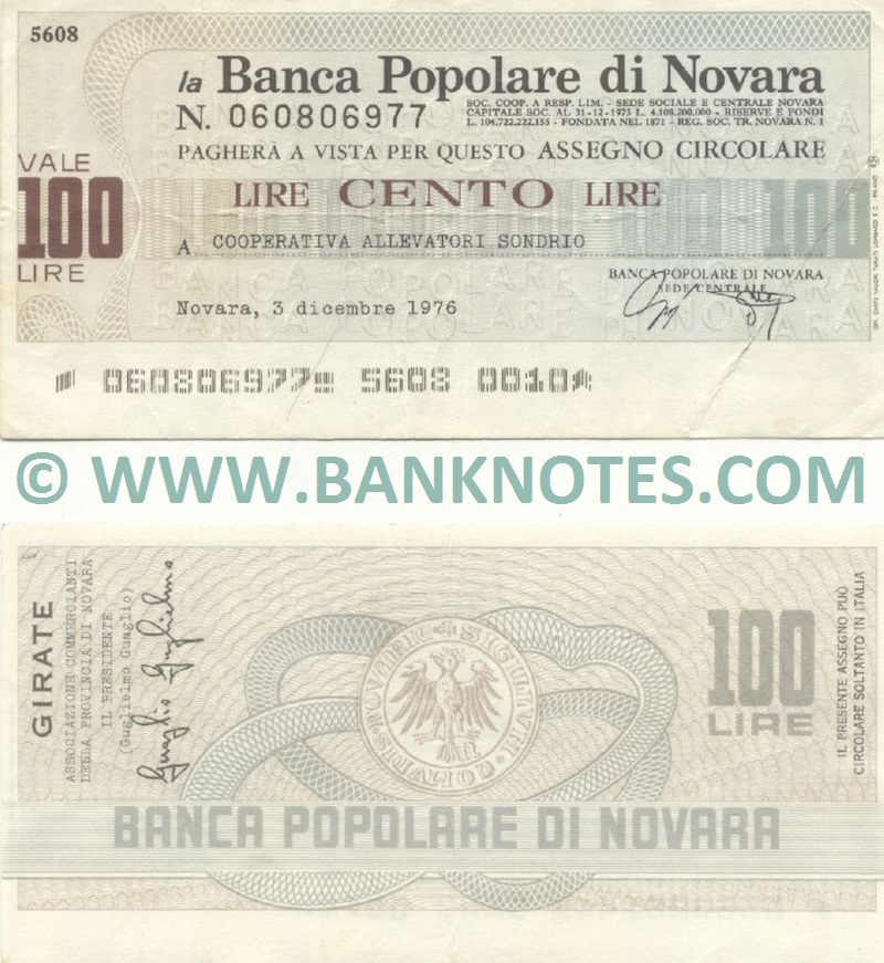 Italy Mini-Cheque 100 Lire 20.1.1977 (La Banca Popolare di Novara) (070541693) (circulated) VF