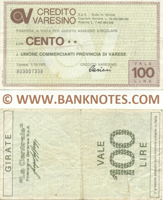 Italy Mini-Cheque 100 Lire 1.10.1976 (Credito Varesino, Varese) (803007338) (circulated) VF