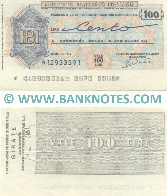 Italy Mini-Cheque 100 Lire 1.3.1976 (L'Istituto Bancario Italiano) (412933391) (lt. circulated) XF