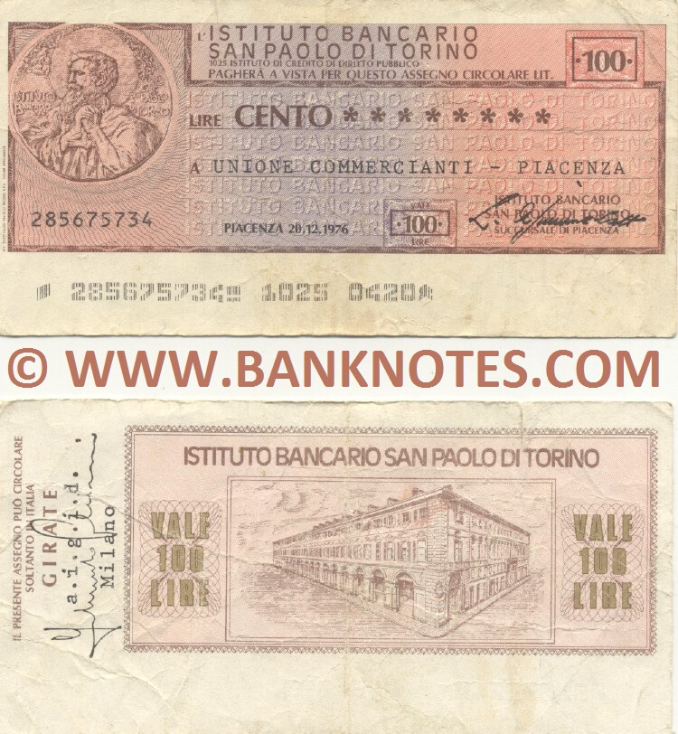 Italy Mini-Cheque 100 Lire 20.12.1976 (L'Istituto Bancario San Paolo di Torino) (285675734) (circulated) VF