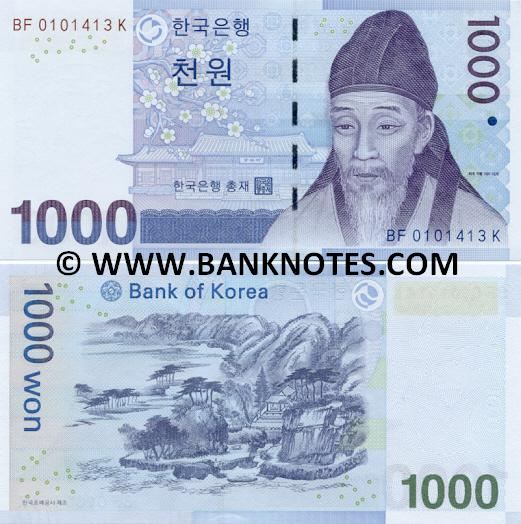 Korea (South) 1000 Won (2007) (BF0101xxxK) UNC