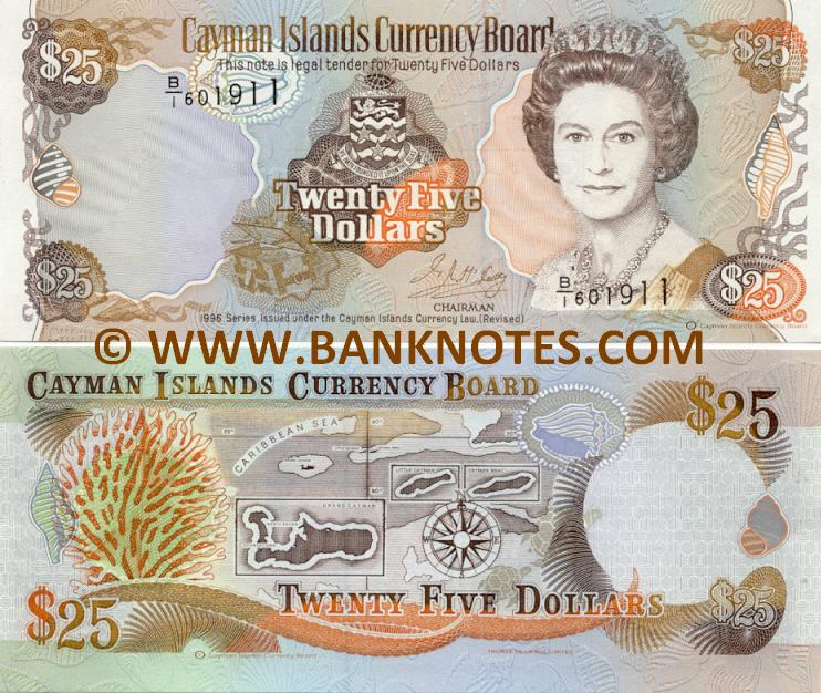 Cayman Islands 25 Dollars 1996 (B/I 601911) UNC