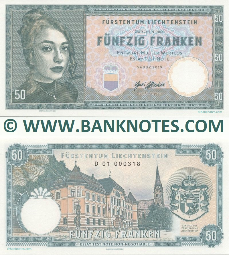 Liechtenstein 50 Franken 2019 Private product (Test Note) (D01 0003xx) UNC