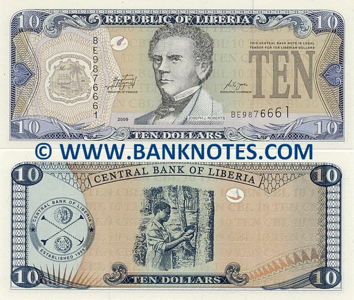 Liberia 10 Dollars 2009 (BE98767xx) UNC