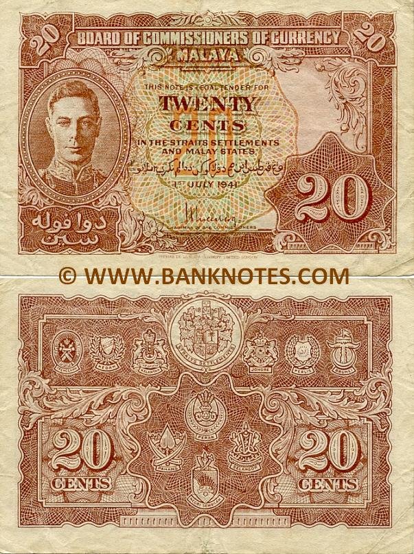 Malaya 20 Cents 1.7.1941 (circulated) VF