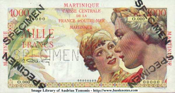 Martinique 1000 Francs (1947-49) (O.000/00000) SPECIMEN UNC