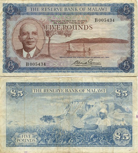 Malawi 5 Pounds L.1964 (B005434) (circulated) F-VF