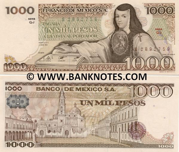 Mexico 1000 Pesos 3.9.1981 (SR/GL188888 = Good Luck) UNC