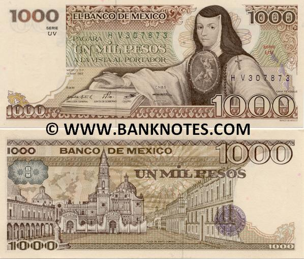 Mexico 1000 Pesos 7-Aug-1984 (VF/KT622127) UNC
