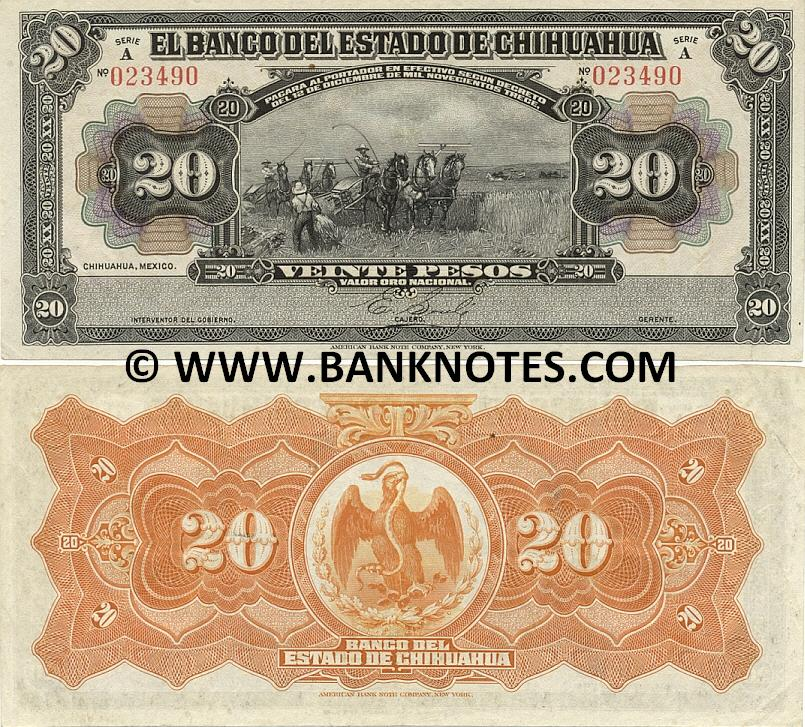 Mexico 20 Pesos 1913 CHIHUAHUA (A 023489) (lt. circulated) VF-XF